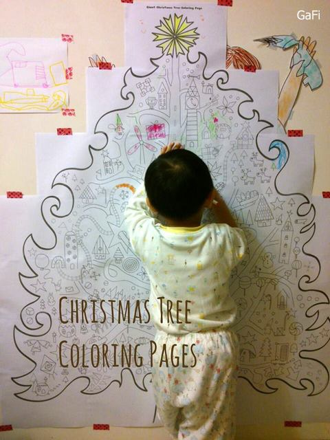 giant christmas tree coloring a4 22 pages ideas