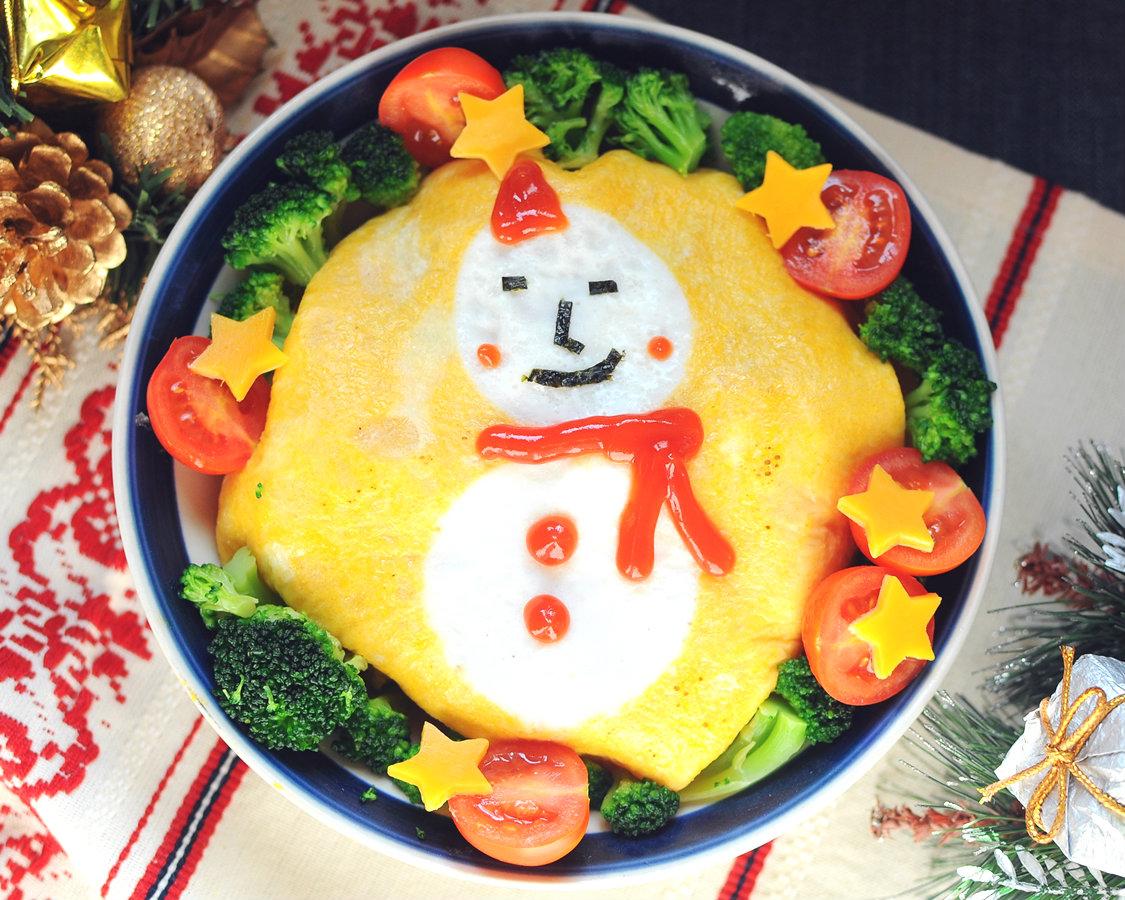 來吃雪人啦!簡易造型蛋包麵